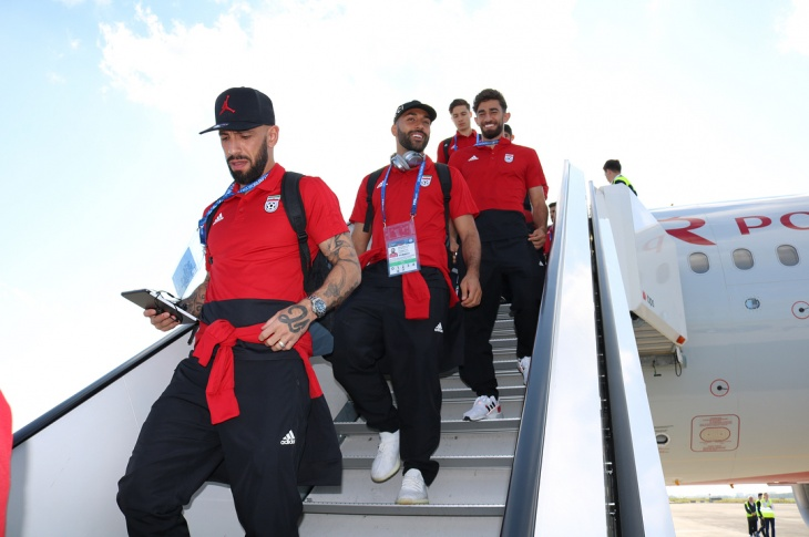 Team Melli arriving for their first match