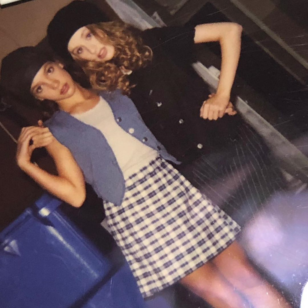 Pop icons Britney and Xtina young pictures together